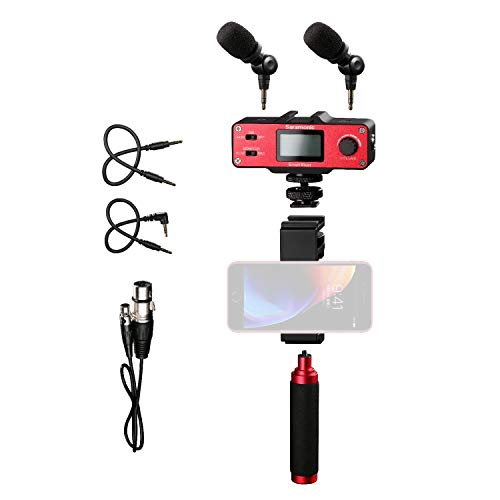 Handheld Microphone Smartphone Vlog Selfie, Saramonic SmartMixer Recording Stereo Mic System with Handle Grip for Apple iPhone X 8 8 plus 7 7 plus 6 6s Android Samsung Galaxy Youtube Video