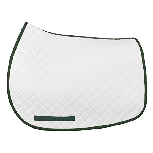 TuffRider Basic All Purpose Saddle Pad W/Trim - White/Hunter Standard