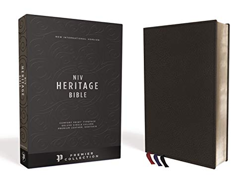 NIV, Heritage Bible, Deluxe Single-Column, Premium Leather, Goatskin, Black, Premier Collection, Comfort Print (Premium Bonded Leather)