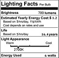 E12 LED Candelabra Bulb 6W 2700K Warm White