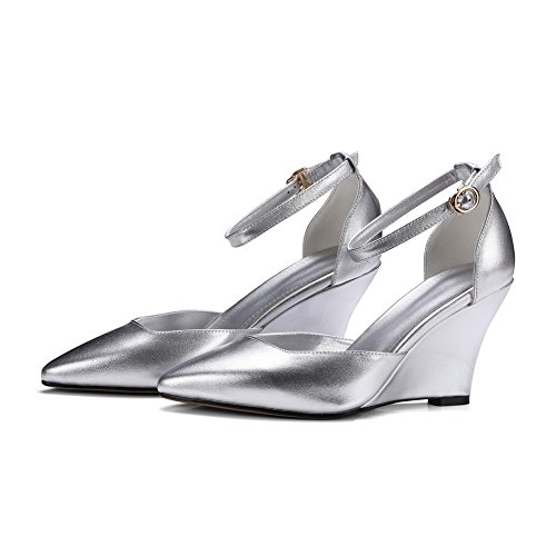 AN Womens Sandals Closed-Toe Smooth Leather Urethane Sandals DIU00613 Silver NxKbuQYsC