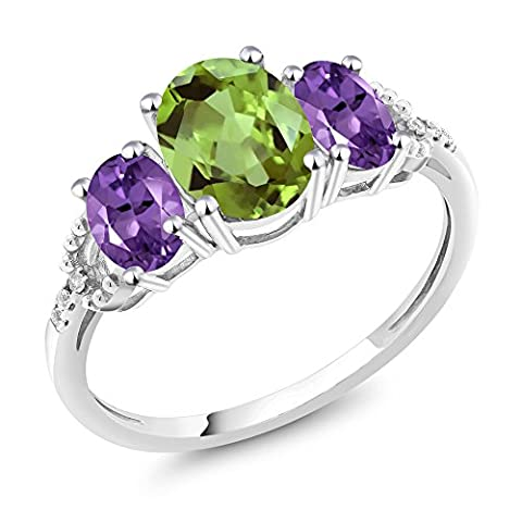 10K White Gold Diamond Accent Three-Stone Engagement Ring set with 2.08Ct Oval Green Peridot Purple (Amethyst Stone Set)