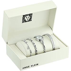 Anne Klein Women's  Swarovski Crystal Accented Watch and Bracelet Set