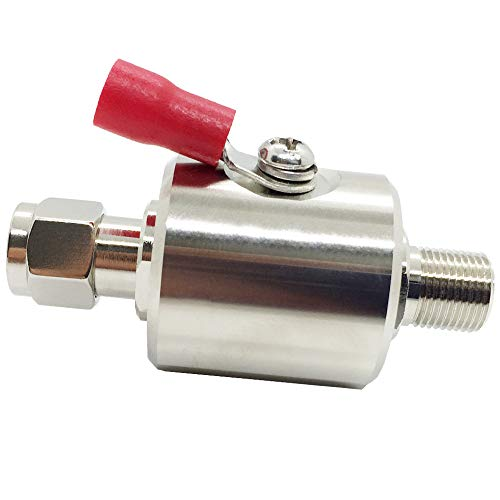 Lightning Arrestor F Male to F Female DC-3GHz 75 ohm Cellular 2G 3G 4G LTE CATV Satellite with 90V Gas Tube Surge Arrester ()