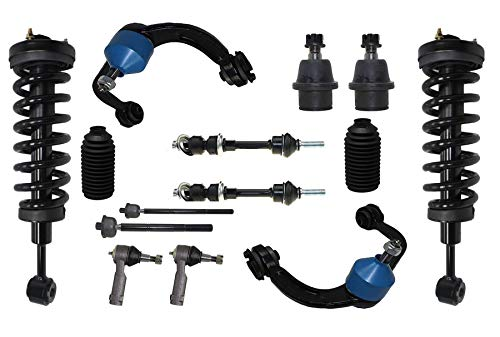 Detroit Axle - 14PC Front Suspension Kit - Struts & Coil Springs, Upper Control Arms w/Ball Joint, Sway bars, Tie Rods and Boots for 2005-2008 Ford F-150 - [2006-2008 Lincoln Mark LT] - 4WD (Replacement Ford Ball Joint)