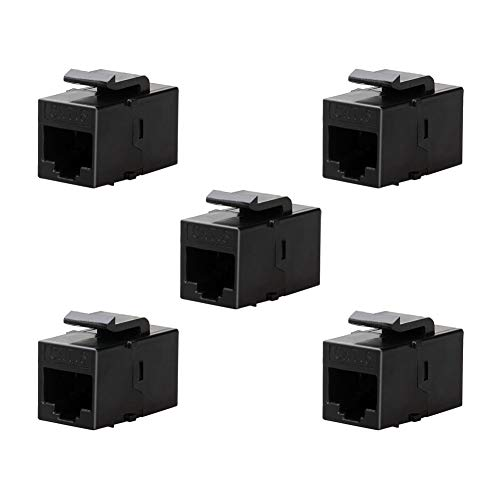(BATIGE 5-Pack CAT6 RJ45 Keystone Jack Female Coupler Insert Snap-in Connector Socket Adapter Port for Wall Plate Outlet Panel (Black))