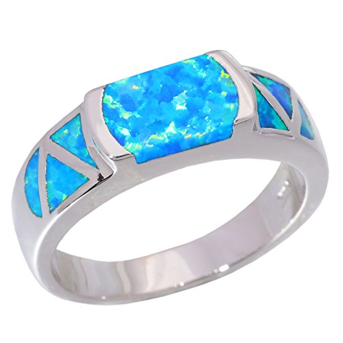 CiNily Created Blue Fire Opal Rhodium Plated for Women Jewelry Gemstone Wedding Ring Size 8 ()