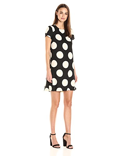 Crepe Polka Dot (Donna Morgan Women's Short Sleve Polka Dot Crepe Trapeze, Black/Whitecap Grey, 10)