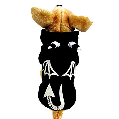 [GOGO Dog Hoodie Coat, Noctilucent Devil, Halloween Costume BLACK-XL] (Devil Costume For Dog)