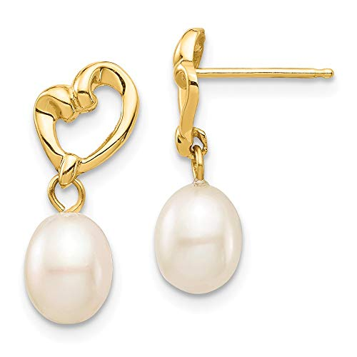 14k Yellow Gold 6mm White Rice Freshwater Cultured Pearl Heart Drop Dangle Chandelier Post Stud Earrings Fine Jewelry Gifts For Women For Her Cultured Freshwater Rice Pearl Drop