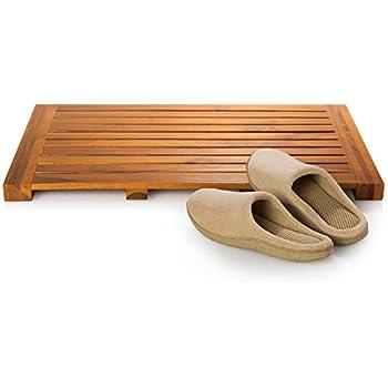 Taymor Teak Bath Mat Solid Natural Wood Luxury Spa Floor Rug For Bathroom  Shower, 24