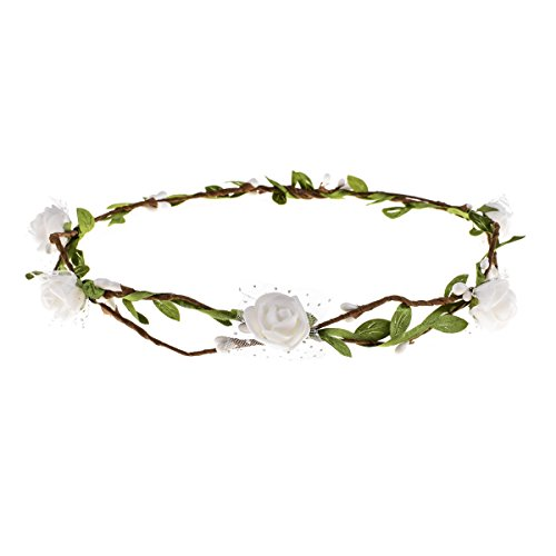DDazzling Girls Flower Crown Floral Wreath Headband Floral Garland Headbands photo props (White)