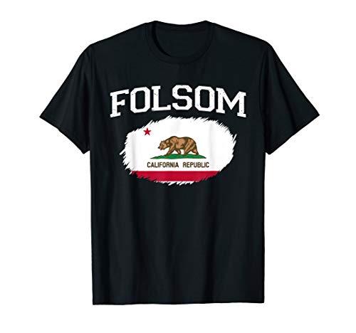 FOLSOM CA CALIFORNIA Flag Vintage USA Sports Men Women T-Shirt (Christmas Folsom Zoo)