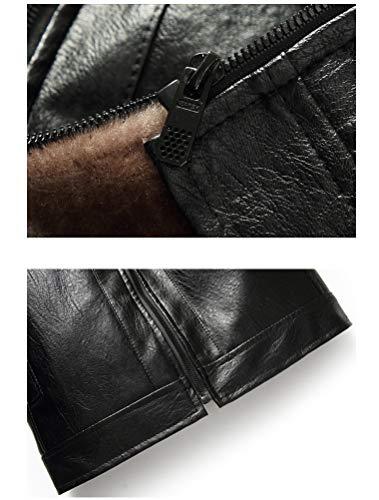 Robo Fourrure Epais Noir Blouson Cuir Veste Hiver Manteau Slim Chaud Fit Homme qtSBtr