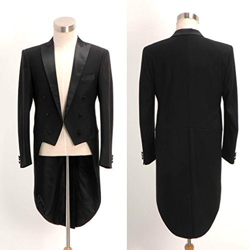Mys da uomo personalizzato in raso Peak Lapel Long Tail Swallowtail cappotto tuta pantaloni set nero