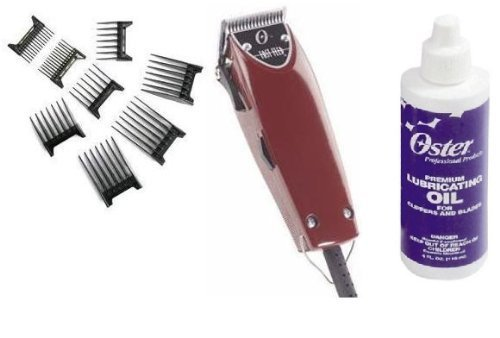 Oster Professional 76023-510 Fast Feed Clipper with Adjustable Blade + 8 piece comb set (Oster Guards Trimmer T)