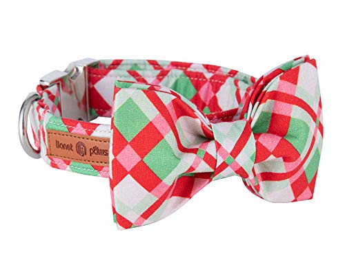 Lionet Paws Christmas Dog Collar with Bowtie,Adjustable Handmade Cotton Dog and Cat Bow Tie...