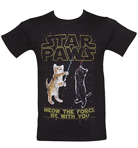 Mens Star Paws Parody T Shirt - 70s Movie Tees Black/Charcoal
