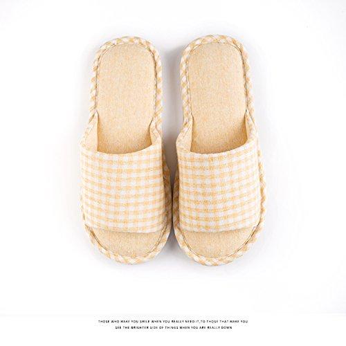 Habuji primavera ed estate cotone femmina pantofole estate home famiglia antiscivolo ciabattine morbide maschio, 35-36, giallo
