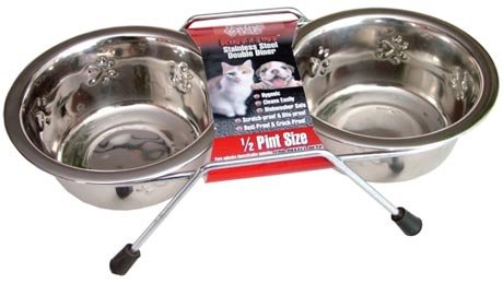 Loving Pets Embossed Double Diner Dog Bowl, 1-Quart, My Pet Supplies