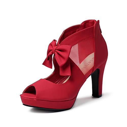 GATUXUS Open Toe Women Platform High Heel Shoes Bows Strappy Sandals (5 B(M) US, Red)