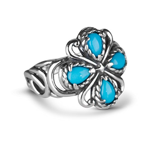 Carolyn Pollack Sterling Silver Sleeping Beauty Turquoise Gemstone Rope and Scroll Bold Ring Size 9
