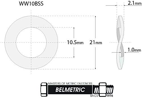 (50pcs) M10, 10mm Wave Stainless Steel Washer - DIN 137B, 21mm Outer Diameter Shiny by BelMetric WW10BSS