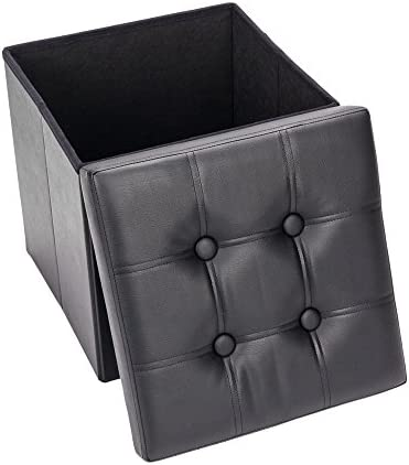 Depointer Life 15 Inches Folding Ottoman Bench,Storage Chest Footrest Padded Seat,Faux Leather,Black