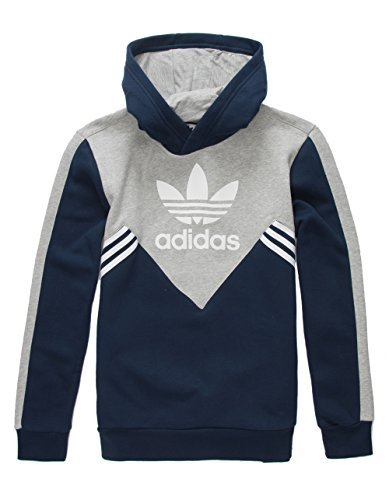 7ca89dd6fb7d7 adidas Originals Kids Boy's Zigzag Trefoil Hoodie (Little Kids/Big Kids)  Collegiate Navy/Medium Grey Heather/White Medium