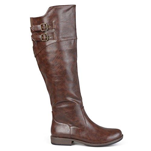 Brinley Co Women's Vega Knee High Boot,Brown,10 Extra Wide/Wide Shaft US
