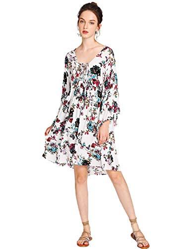 Milumia Women's Floral Print Front Cross Deep V-Neck Flare Sleeve Loose Short Mini Dress Large Multicolor-1