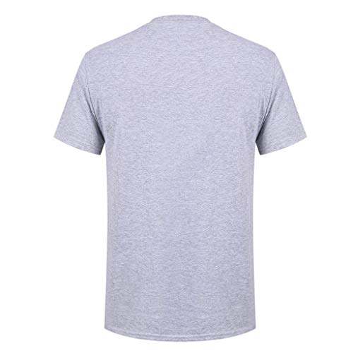 Allywit-Mens Spring Summer Casual Fashion Cute Printing O-Neck Short Sleeve Cotton T-Shirt Gray by Allywit-Mens (Image #1)