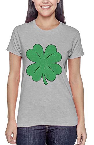 Distressed Shamrock - Four Leaf Clover Irish Ladies T-Shirt (Light Gray, XX-Large)