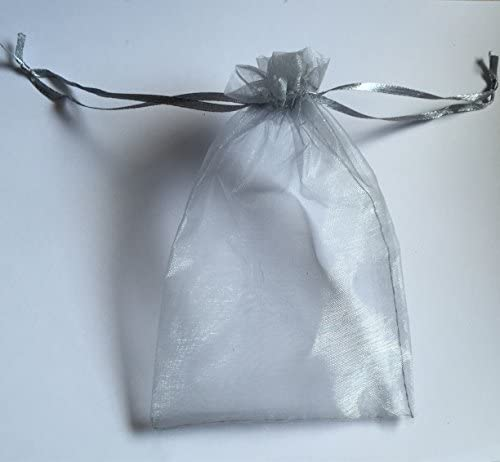 Glitterymall 50pcs Drawstring Organza Jewelry Gift Pouch Bags Wedding Party Favor 5x7 SILVER COLOR