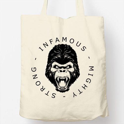 Totebag Infamous Design Borsa Gorilla Originale 6wYxqC