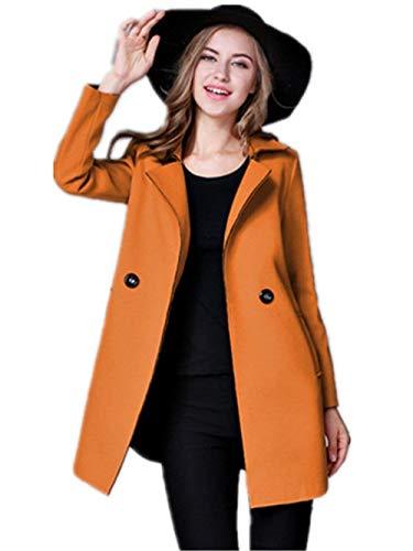 Solapa Mujer Casuales Otoño Largo De Sólido Transición Elegantes Outerwear Color Fashion Chaqueta Abrigos Abrigo Gelb Retro Primavera Manga Adelina w8RZtZ