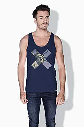 Creo Nyc Liberty X City Love Tanks Tops For Men - M, Blue