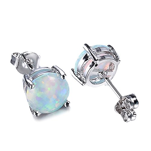 Sterling Silver Multi Color Stone - 925 Sterling Silver Three Color,White, Multicolor and Green Stone Stud Earring,For Girl Wedding,Engagment and Birthday (White)