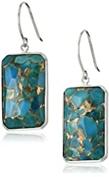 14k White Gold Contemporary Bezel Set Design Rectangle Bronze Turquoise Drop Earrings
