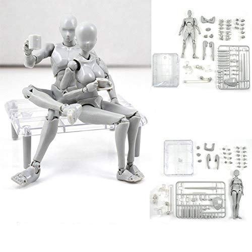 Uranny Body Kun DX Set Male & Female Action Figure Model Set for SHF Body Kun Doll PVC Body-Chan DX Set 2.0 (1 Set-Action Figure Model) (Max Factory Figma Archetype Next Male Action Figure)