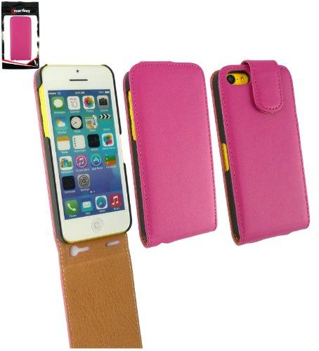 Emartbuy ® Apple Iphone 5c Luxury PU Leder Flip / Schutzhülle / Cover / Tasche Pink / Tan