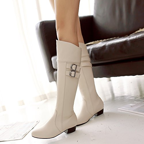 High Womens AIWEIYi High Beige Heel Buckles Shoes Boots Boots Chunky Knee Thigh OYwYqd