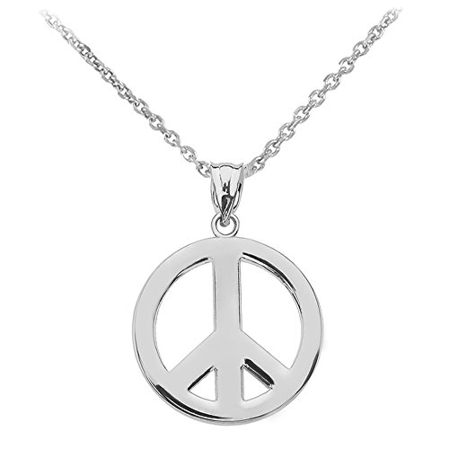(Sterling Silver Circle Of Peace Sign Symbol Pendant Necklace, 16