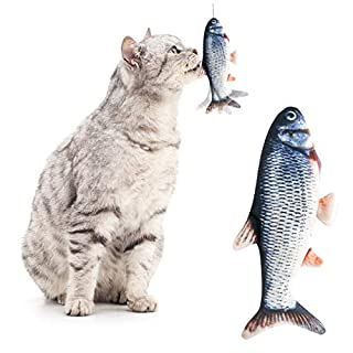 Growom Electric Moving Fish Cat Toy, Funny Interactive Pets Pillow chew Fish Kick Supplies Catnip Kicker Toys Motion Kitten Toy for Cat/Kitty/Kitten Fish Flop