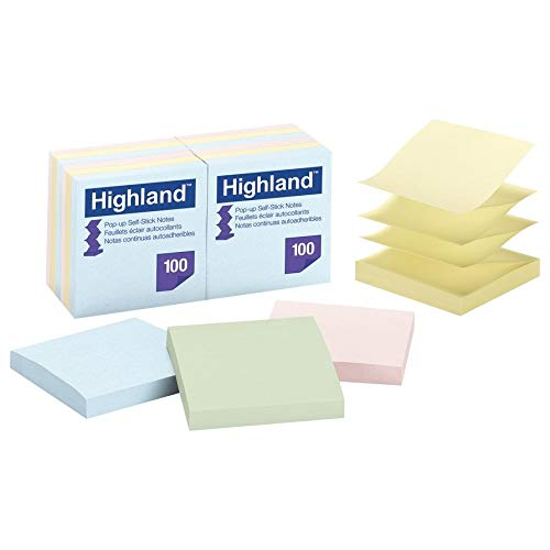 Highland 6549-PUA Pop-up Notes, 3 x 3 Inches, Assorted Pastel Colors, 36 Pack