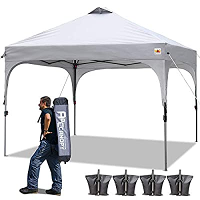 ABCCANOPY 10 x 10 Canopy Tent Pop-Up Commercial Instant Shelter Portable Shade Canopy Popup Tents Outdoor with Wheeled Carry Bag Bonus 4 Weight Bags, 4 x Ropes& 4 x Stakes