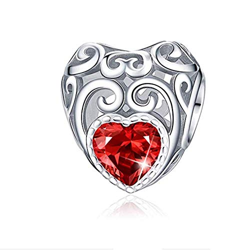 ANLW Lucky December Birthstone - Leaf Heart Bead Charm - S925 Sterling Silver Hot Pearls DIY Beaded Bracelet ()