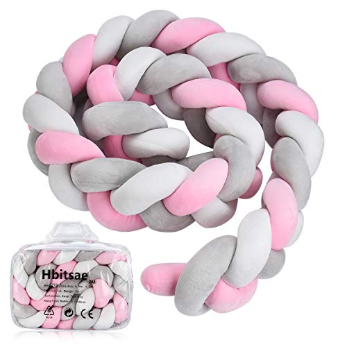 Baby Braided Crib Bumper Knotted Plush Protective Decorative Nursery Gift Pillow for Newborns Bed Sleep Bumper Safe forToddler/Newborn (78.7 inch 2m,White+Grey+Pink)