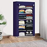 Keekos Collapsible Wardrobe Organizer, Storage Rack for Kids and Women, Clothes Cabinet, Shoe Rack, Bedroom Organiser with 6 Layer_Navy