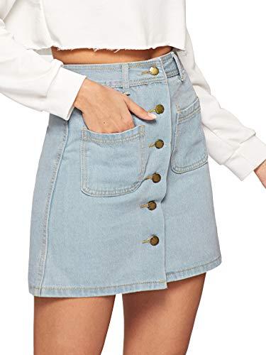 Verdusa Women's Button Pockets Front Denim A-Line Short Skirt Light Blue XS